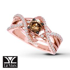 Le Vian CHOCOLATE DIAMOND RING 3/4 CT TW ROUND-CUT 14K STRAWBERRY GOLD®