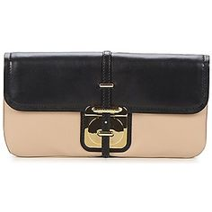 Hugo Boss 'Colyne' nude/black flap clutch. Debuted Sep 2012. Click for more details