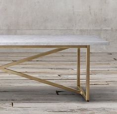 """Torano Marble Rectangular Dining Table, 84"""", white marble & burnished brass"""
