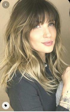 Medium Hair Cuts, Medium Hair Styles, Curly Hair Styles, Long Thin Hair, Long Hair With Bangs, Wavy Bangs, Choppy Hair, Shoulder Hair, Balayage Hair