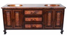 Rio Hermoso Wood and Copper Vanity - SinksGallery ,Sale Price: $2,849.00, From www.glasssinksonline.com