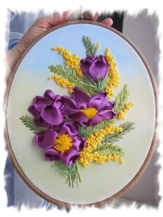 Purple and yellow flowers Hand Embroidery Patterns Free, Ribbon Embroidery Tutorial, Hand Embroidery Flowers, Flower Embroidery Designs, Silk Ribbon Embroidery, Embroidery Stitches, Flower Making With Ribbon, Diy Lace Ribbon Flowers, Ribbon Art