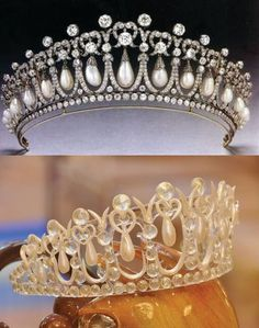 Disney Chef Branlard created this pulled sugar tiara (bottom) version of the Queen's Cambridge Lovers Knot tiara to celebrate the royal wedding.
