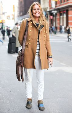 Mix hippie accessories with prep essentials like a camel coat and striped tee #streetstyle