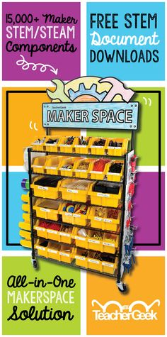 The ultimate Maker/STEM/STEAM solution. With over 40 STEM projects and almost every TeacherGeek component, it supports hundreds of kids. The sign is dry erase. NGSS Aligned. Grades 3-12. Students learn science and engineering concepts through experimentation, grow their understanding and evolve projects through the design & engineering process. The TeacherGeek Maker Cart provides ample opportunities for amazing true STEM projects for as little as a few dollars (average project cost: $3.42.)