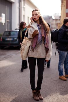 scarf, oversized sweater, black skinny jeans, combat boots