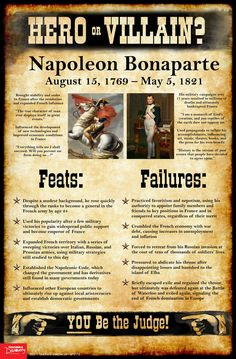 History tends to judge historical figures in extremes: Genghis Khan was a barbarian! Martin Luther was a religious hero! As teachers, it's tempting at times to present the world as black and white to our students: good or evil, friend or foe, hero or villain. Use this Napoleon Bonaparte mini-poster to encourage students to take off the rose-colored glasses and see beyond the established historical narratives, into the real world of gray.   ©2017. Middle school, high school. 11 x 17 in.