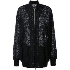 Stella McCartney lace effect bomber jacket ($1,074) ❤ liked on Polyvore featuring outerwear, jackets, black, patterned bomber jacket, long sleeve lace jacket, flight jacket, floral jacket and bomber jacket