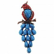 Vintage Ruby Parrot With Turquoise Pin Brooch