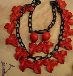 Items similar to Vintage Red Necklace Celluloid Funeral Flower earrings gothic on Etsy Red Necklace, Antique Necklace, Flower Necklace, Vintage Costume Jewelry, Vintage Costumes, Vintage Jewelry, Vintage Necklaces, Antique Jewelry, Vintage Items