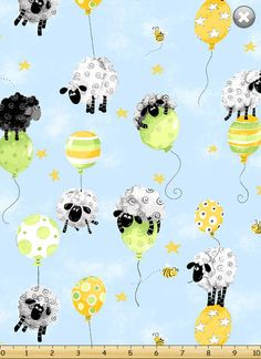 """28"""" Bolt End LEWE BALLOONs on Blue / Sheep Quilt Fabric by Susybee #Susybee"""