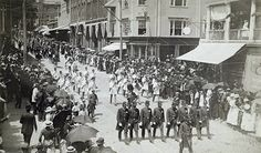 1887 of July Parade on Purchase and Union streets in New Bedford, Ma - New Bedford Local History, Family History, 4th Of July Parade, New Bedford, Food Prep, Far Away, Historical Photos, East Coast, Massachusetts