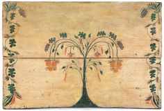 Rare Connecticut painted pine fireboard, attributed to Stimp, ca. 1800, with a stylized fruit tree with grapevines flanked by trailing vines on an ivory ground, 29 1/2'' h., 43 3/4'' w.