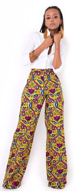 Pants Casual S Women Trousers Stretch Leg Wide Long Palazzo Hot Bohemian Loose Womens Stretchy Yoga Athletic Gym Comfy Foldover. African Dresses For Women, African Attire, African Wear, African Women, African Style, African Inspired Fashion, African Print Fashion, Africa Fashion, Fashion Prints