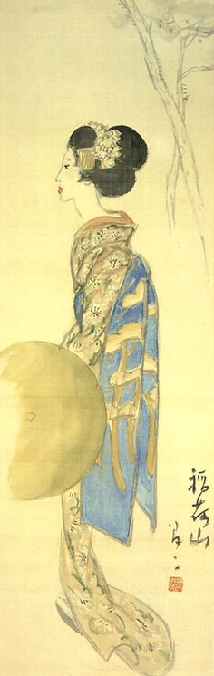 Japan antique art. illustrator / Yumeji Takehisa.   kimono beauty lady. last years of the taisyo period.