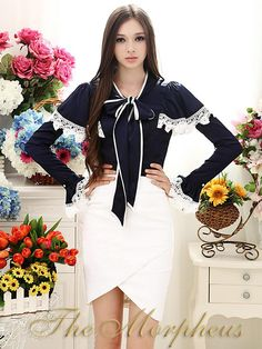 Morpheus Boutique  - Blue Ruffle Bow Flare Sleeve Collar Hemline Shirt