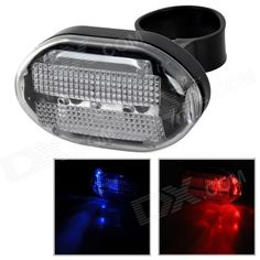 LY-P08 Stylish Red   Blue Light LED Tail Lamp for Bicycle - Black (2 x AAA) Price: $4.40