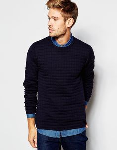 "Sweater by Esprit Knitted fabric Quilted texture Crew neck Ribbed trims Fitted cuffs and hem Regular fit - true to size Machine wash 100% Cotton Our model wears a size Medium and is 183cm/6'0"" tall"