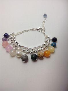 Multi gemstone charm bracelet