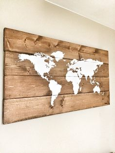 Rustic Wood World Map, Rustic Decor, Farmhouse Decor, Rustic Nursery Decor, Wall Decor, Wooden White World Map - 26 x 14 by cherrytreegallery on Etsy https://www.etsy.com/listing/239126996/rustic-wood-world-map-rustic-decor