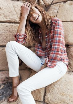 White jeans  Plaid
