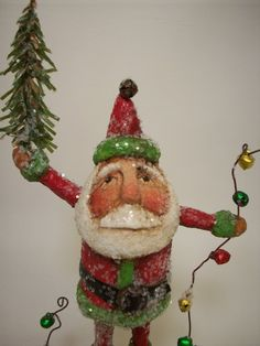 Papier Mache Folk Art Santa with Tree and Lights. Christmas