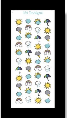 Weather Icons  Stickers for Life Planner by 989Designs on Etsy