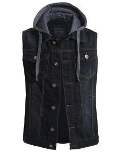 LE3NO Mens Premium Denim Vest with Detachable Hoodie