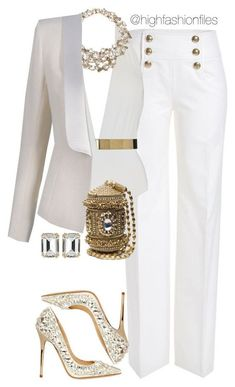 """""""Mature Sexy"""" by highfashionfiles - Balmain, Emilio Pucci, Jimmy Choo Emilio Pucci, Jenny Packham, House of Lavande Mode Outfits, Fashion Outfits, Womens Fashion, Fashion Trends, Ladies Fashion, Fashion Clothes, Mode Chic, Mode Style, White Outfits"""