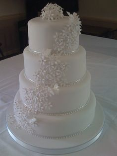 love this cake too. Wonder how it'd look with the flower embellishments in the wedding colors Wedding Day Wishes, Wedding Things, Wedding Stuff, Our Wedding, Wedding Photos, Dream Wedding, Wedding Ideas, White Wedding Cakes, Beautiful Wedding Cakes