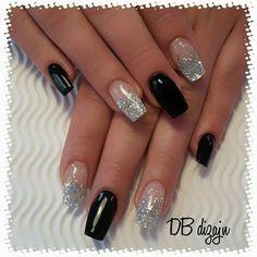 60 best ideas for nails black silver purple Square Nail Designs, Black Nail Designs, Pretty Nail Designs, Colorful Nail Designs, New Year's Nails, Diy Nails, Cute Nails, Pretty Nails, Black Silver Nails