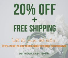 With this promo link: https://society6.com/andreaanderegg?p...N8T8Q9C4WM End: Saturday, 5/6 @ 11:59pm PT #freeshipping #mothersday #artsale #homedecor #wallart #artcollector