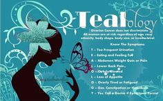 Ovarian Cancer Awareness ~ Tealology ~ Ovarian Cancer does not discriminate . All women are at risk regardless of age , race , ethnicity , body shape , body size or income level . Know The Symptoms ...  # teal butterflies
