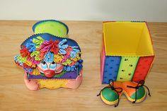 FOAMYIDEAS: Mi Payaso de foamy Kids Crafts, Clown Party, Kids Education, Party Planning, Decorative Boxes, Lunch Box, Christmas, Uber, Party Ideas