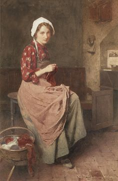 Carlton Alfred Smith | A young girl knitting. British, 1853-… | By: hauk sven | Flickr - Photo Sharing!