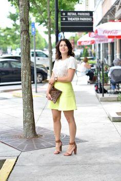 j.crew palm tree print tee and neon yellow skirt via @mystylevita @jcrew #outfit #fashion #skirt