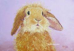 Rabbit painting Easter bunny animal paintings 5x7 by JanMatsonArt, $85.00