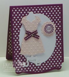 """Dress Form Pop-n-Cuts-Cardstock: Whisper White, Rich Razzleberry DSP: Polka Dot Party Inks: Rich Razzleberry Accessories: Mini Brads, Stampin' Dimensionals, Rich Razzleberry Stitched Grosgrain Ribbon Tools: Big Shot Machine, Perfect Polka Dots Embossing Folder, Ovals Collection Framelits Dies, Dress Up Framelits Dies, Dress Form Pop 'n Cuts Die, Card Base Pop 'n Cuts, 7/8"""" Scallop Circle Punch, 1 1/4"""" Scallop Circle Punch Stamps: A Round Array, Really Good Greetings"""