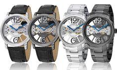 Stührling Original Men's Elegant Skeleton Watches.