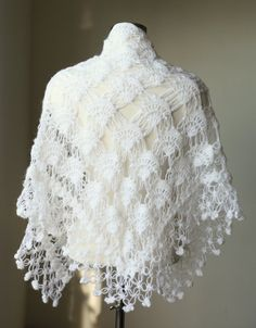 Bridal Shrug Shawl Bolero - White Crochet Shawl - Wedding Shawl  - Bridal Accessories Winter Wedding- White Shrug