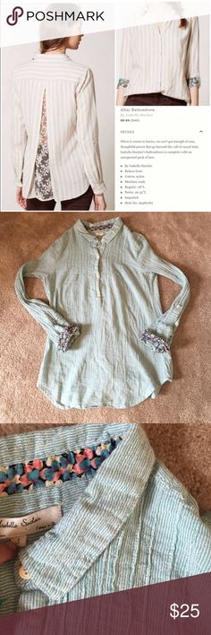 Anthropologie Isabella Sinclair top🍃 EUC 100% cotton Anthropologie Isabella Sinclair atlay striped green blue button down with floral cuff accent and lace back, lightweight and cute! 🍃 Anthropologie Tops Button Down Shirts