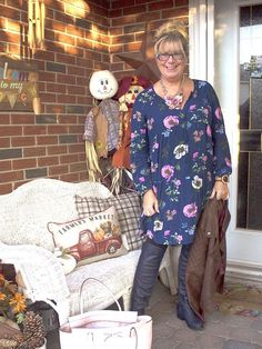 Old Navy floral dress with leggings and OTK Boots from Shoe dazzle in a fall outfit