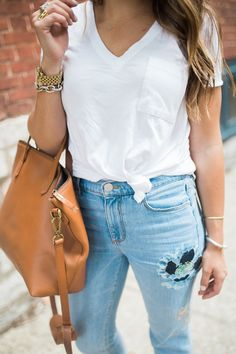 How to wear embroidered jeans / Summer to fall style via Glitter & Gingham / LOFT Embroidered Jeans / Madewell Transport Tote