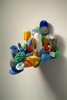 """Lost Reef,"" a wall sculpture by Lynn Aldrich. Textile Sculpture, Soft Sculpture, Textile Art, Bric À Brac, Plastic Art, Recycled Art, Art Plastique, Fabric Art, Installation Art"