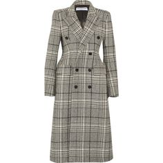 Balenciaga Hourglass double-breasted checked wool-blend coat ($2,665) ❤ liked on Polyvore featuring outerwear, coats, black, balenciaga coat, checked coat, balenciaga, checkered coat and double-breasted coat