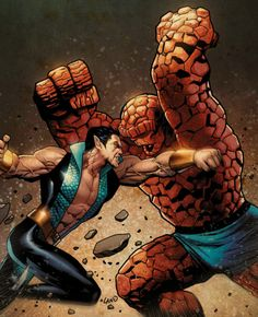 Namor vs The Thing by Greg Land - Universo Marvel Comic Book Artists, Comic Book Characters, Marvel Characters, Comic Artist, Comic Character, Comic Books Art, Marvel Comics Superheroes, Marvel Vs, Marvel Heroes