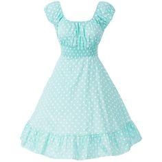 Sidecca Retro 1950s Polka Dot Smock Swing Dress-Plus Size (46 CAD) ❤ liked on Polyvore featuring dresses, blue polka dot dress, retro-style dresses, retro-inspired dresses, retro print dress and polka dot swing dress