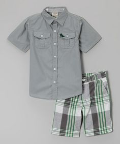 Love this Gray & Green Plaid Button-Up & Shorts - Infant, Toddler & Boys on #zulily! #zulilyfinds