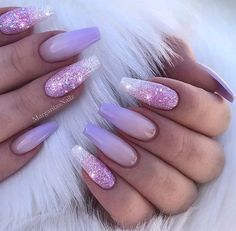 66 Gorgeous Purple 💜 Nails Design (Acrylic, Matte, Round Nails) You May Try in Prom – Makeup & Nail Ideas Nail Art Designs, Purple Nail Designs, Nails Design, Acrylic Nail Designs Glitter, Purple Ombre Nails, Purple Acrylic Nails, Purple Glitter, Matte Nails, Golden Glitter