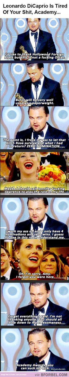 lol Leonardo Dicaprio Is Sick Of The Awards Academy… Funny Quotes, Funny Memes, Hilarious, Jokes, Lol, 1 Hokage, Cinema, Fandoms, Totally Me